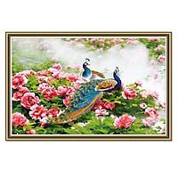 Decal dán tường giả khung tranh đôi chim công LunaTM-0239K