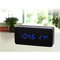 Đồng hồ led gỗ model 010 - Gỗ đe led xanh
