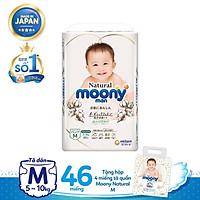 Tã dán Moony Natural M46 tặng hộp 4 miếng tã quần Moony Natural M