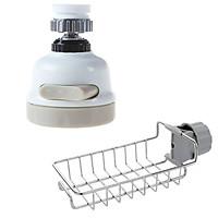 Đầu vòi tăng áp điều hướng 360 độ mẫu mới và Giỏ inox đựng giẻ rửa bát