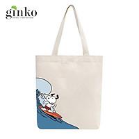 Túi tote vải mộc GINKO dây kéo in hình Snoopy and Friends M98