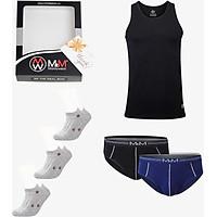 Simple Box Tinh Tế ( 1 áo ba lỗ đen, 2 quần lót tam giác , 3 đôi bít tất ) thương hiệu MRM Manlywear