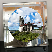 Đồng hồ thủy tinh vuông 20x20 in hình Church - nhà thờ (119) . Đồng hồ thủy tinh để bàn trang trí đẹp chủ đề tôn giáo