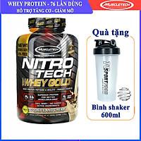 Combo Sữa tăng cơ giảm mỡ cao cấp Nitro Whey gold của Muscletech hộp 76 lần dùng cho người tập Gym & Bình lắc 600ml (Mẫu ngẫu nhiên)