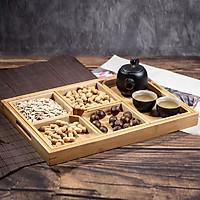 Khay gỗ tre ONGTRE đựng mứt tết/trà 5 ngăn, có tay cầm tiện lợi