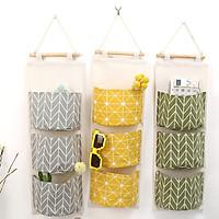 Combo 2 Túi Vải Vintage Treo Tường Trang Trí, Đựng Đồ, Tặng Kèm Bộ Cốc Đựng Cọ Trang Điểm