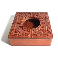 Gạt tàn gỗ hương trạm khắc hoa văn truyền thống tinh xảo