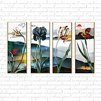 Tranh canvas treo tường - Tranh hoa thủy mặc-vải canvas kim tuyến dán Pima, khung viền composite, công nghệ in UV