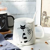Cốc Sứ Có Nắp Hình Mèo Porcelain