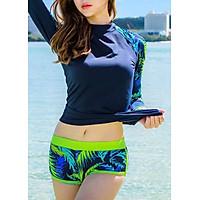 Đồ Bơi Tay Dài Nữ - Xanh Dương Tay Lá