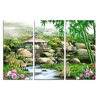 Tranh treo tường phòng khách- tranh treo tường 3 tấm dọc  D2853/Gỗ MDF cao cấp phủ kim sa/ Chống ẩm mốc, mối mọt/Bo viền góc tròn