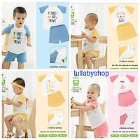 Bộ cộc tay cotton vân thoáng Lullaby NH624P, bộ quần áo raglan bé trai, bé gái cao cấp