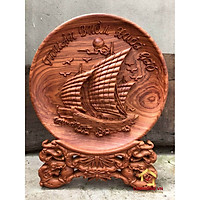 Đĩa gỗ trang trí thuận buồm xuôi gió bằng gỗ hương đường kính đĩa 30 - 35 - 40 cm dày 4 cm