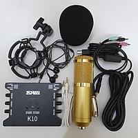 Combo Bộ Míc Thu Âm Livestream Hát Karaoke Online Micro BM-900+ CARD K10+ dây live MA2+Tặng Tai nghe nhét tai