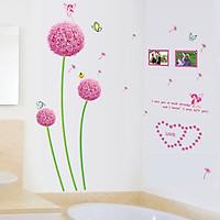 Decal dán tường chất liệu PVC dạ quang phát sáng- hoa bồ công anh tím hồng- mã sp ABQ6601