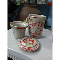 Bộ cốc lọc trà gốm sứ Bát Tràng( Hoa văn ngẫu nhiên)