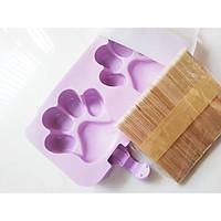 Khuôn kem silicon - tặng kèm 50 que gỗ và nắp