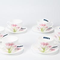 Bộ 6 tách 6 đĩa thủy tinh ngọc cao cấp