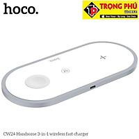 Đế Sạc Không Dây 3 in 1 Hoco CW24 dùng cho tất cả các dòng điện thoại có hỗ trợ sạc không dây