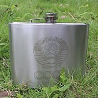 Bình INOX Đựng Rượu CCCP Truyền Thống 1L   Tặng Kèm Gáo Dừa Múc Rượu và Bao Da