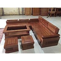 Sofa gỗ xoan đào mặt liền mẫu góc