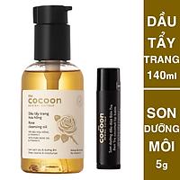 Combo dầu tẩy trang hoa hồng cocoon 140ml + Son dưỡng môi cocoon 5g