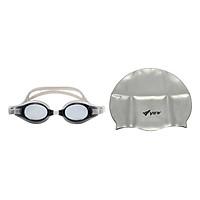 Bộ Kính Bơi View V500S-LSL (Đen Xám) Và Nón Bơi View V31-GY (Xám)