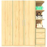 Tủ quần áo FINE FT043F 180cm x 200cm gỗ MFC ngoại nhập Malaysia, thiết kế hiện đại, đường nét tinh xảo có ngăn trưng bày túi xách