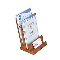 Kệ brochure catalogue bằng gỗ NHATVYWOOD A5-NV7151B  2 tầng có ngăn namecard cao cấp