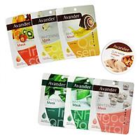 Combo 7 mặt nạ Avander: 1 Hũ Mặt nạ đất sét Collagen + 6 Mặt nạ giấy ( Trà Xanh, Ngọc Trai, Nha đam, Trái cây, Ốc sên, collagen)