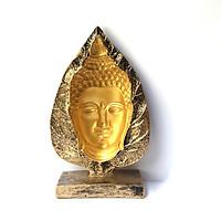 Tượng đá phật 3D lá bồ đề - màu nhũ vàng