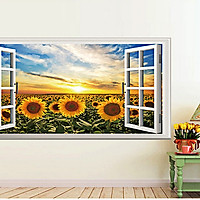 decal dán tường phong cảnh cửa sổ cánh đồng hoa hướng dương