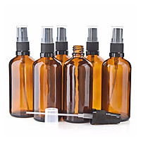 6Pcs 100ML Empty Amber Glass Mist Spray Bottles Refillable Glass Containers