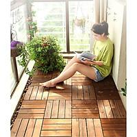 Combo 5 ván sàn gỗ ngoài trời lót ban công, sân vườn, spa, hồ bơi 4 nan chống trơn trượt bền đẹp