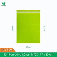 MT0X - 17x30 cm - Túi nilon gói hàng - 500 túi niêm phong đóng hàng màu xanh lá mạ