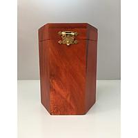 Hộp đựng trà ( chè ) lục giác gỗ hương khắc chữ Phúc
