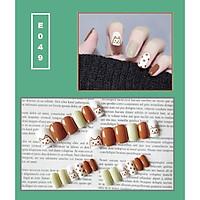 Bộ 24 móng tay giả nail thời trang họa tiết bắt mắt chống thấm nước (E049)