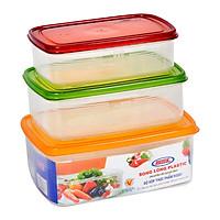 Bộ 3 hộp đựng thực phẩm Song Long 2221 (2000ml, 1300ml, 850 ml) - Màu ngẫu nhiên