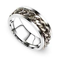 Nhẫn titan nam nữ dây xích xoay phong cách trẻ trung cá tính.
