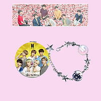 Combo gương mini BTS vòng tay in hình BTS tặng banner BTS