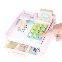 Đồ chơi máy tính tiền - Máy tính tiền siêu thị bằng gỗ cho bé