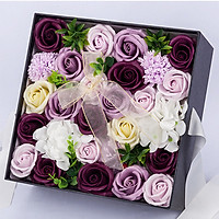 Hoa hồng sáp thơm Gift set màu tím