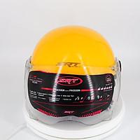 Mũ bảo hiểm 1/2 SRT viền đồng cao cấp có kính chắn gió bảo vệ mắt thời trang + Kính càng - Màu vàng