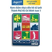 Nam Châm Hít Tủ Lạnh Saigonir Hình Ảnh Thành Phố Hồ Chí Minh (Nhà Thờ Đức Bà, Bưu điện Thành Phố, Hồ Con Rùa, Dinh Độc Lập) Nền Xanh Chất Liệu Nhựa Dẻo PVC Kích Thước 8*8cm Phù Hợp Làm Quà Sinh Nhật, Quà Lưu Niệm Cho Người Nước Ngoài