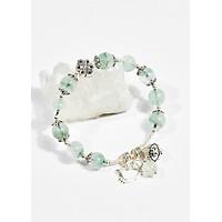 Vòng tay phong thủy nữ đá thạch anh xanh charm chuông 8mm mệnh hỏa , mộc - Ngọc Quý Gemstones