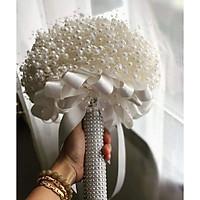 Cuộn 10 mét dây chuỗi ngọc trai trang trí bó hoa cưới, dây hạt ngọc làm đồ thủ công xinh xắn