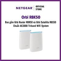 Bộ Thiết Bị Phát Sóng Wifi Router NETGEAR Orbi RBK50 (Bao gồm Orbi Router RBR50 và Orbi Satellite RBS50) Chuẩn AC3000 Tri-band WiFi System - Hàng Chính Hãng