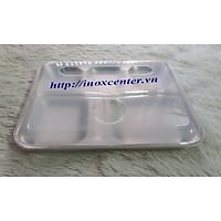 Khay cơm inox 5 ngăn, inox 201 có nắp nhựa