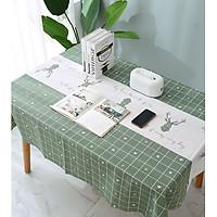 Khăn trải bàn PEVA cao cấp Xanh tuần lộc (137x180cm)  không thấm nước, chống thấm dầu siêu tiện ích - trang trí nội thất