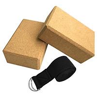 Khối gạch tập yoga bằng gỗ bần cao cấp với dây đai hỗ trợ co giãn